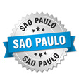 Sao Paulo round silver badge with blue ribbon vector image