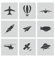 black airplane icons set vector image
