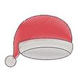 christmas cap santa claus on color crayon vector image