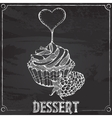 cupcakes with raspberries chalk drawing vector image