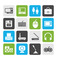 Flat Computer equipment and periphery icons vector image