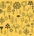 plants flowers and trees with black line on white vector image