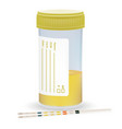 urine test strip with the plastic jar of urine vector image