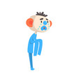 sad crying clown colorful cartoon character vector image