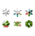 Set of abstract colorful snowflake logo icons vector image vector image