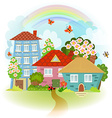 spring cute cityscape with flowering tree vector image
