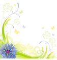 Floral summer background with blue cornflower vector image