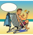 Handsome man resting on the beach vector image