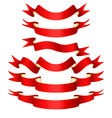 Set of red curved ribbons vector image