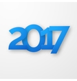 Blue paper happy new year 2017 with shadow vector image