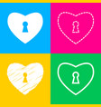heart woth lock sign four styles of icon on four vector image