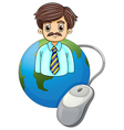 A globe with a businessman and a computer mouse vector image