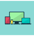 Colorful flat technology devices set over blue vector image vector image