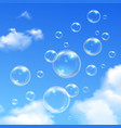 Soap Bubbles Blue Sky Realistic Background vector image