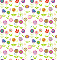 Whimsical flowers seamless vector image