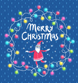 Christmas lights and Santa greeting card vector image