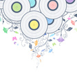 Background with vinyl records and flowers vector image