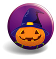 Halloween badge with pumpkin wearing witch hat vector image