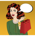 Pop art Style Vintage Girl with Shopping Bags vector image