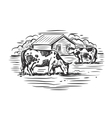 cow and farm vector image