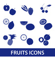 fruits and half fruits icons eps10 vector image