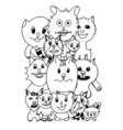 set of cute cat cartoon vector image