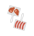 Two Grill Grids With Sausages And Porc Chops vector image