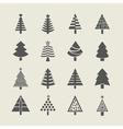 silhouette christmas tree icons set vector image