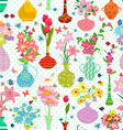 spring seamless texture with modern variety vases vector image