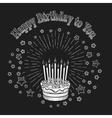 Birthday cake chalkboard greeting card vector image