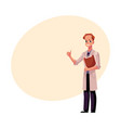 male doctor in medical coat holding clipboard vector image vector image