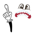 horror smiley face with pointing gesture vector image
