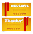 welcome and thanks greeting cards vector image