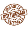 welcome to nottingham brown round vintage stamp vector image