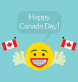 happy canada day smiley face icon with big smile vector image