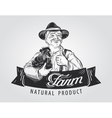 farmer with a chicken in his hand hand-drawn vector image