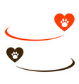 background with heart and paw vector image