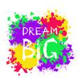 grunge motivational poster dream big vector image