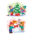 Icons small children decorate the Christmas tree vector image