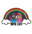 rainbow and cloud with peace and love message vector image