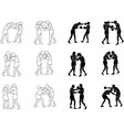 Silhouette Exercising Boxeo vector image