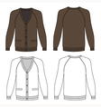Blank long sleeve brown raglan cardigan vector image vector image