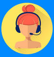 call center operator avatar woman with a headset vector image