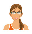 beauty sport woman using smart glasses vector image