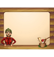 An empty wooden frame template with a lumberjack vector image vector image