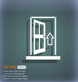 Kitchen hood icon sign On the blue-green abstract vector image