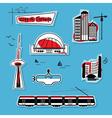 big city design element icons set on blue vector image