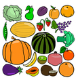 Cartoonish fruits and vegetables vol 1 vector image
