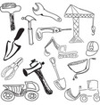 drawn tools on white vector image