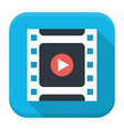 Filmstrip play flat app icon with long shadow vector image